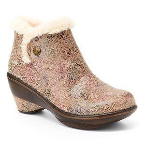 JBU Mesa Faux Fur Lined Vegan Shimmer Ankle Boots